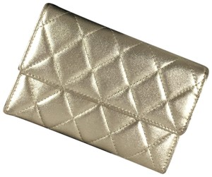Chanel Chanel Gold Irridescent Quilted Wallet Lambskin