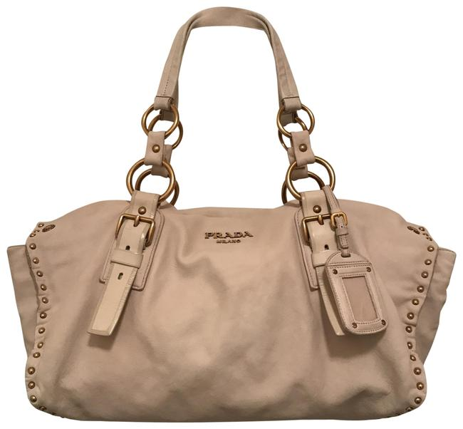 Item - Large Studded East-west White Gold Leather Tote