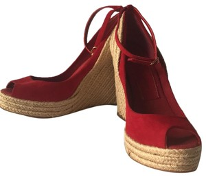 Jean-Michel Cazabat red suede Wedges