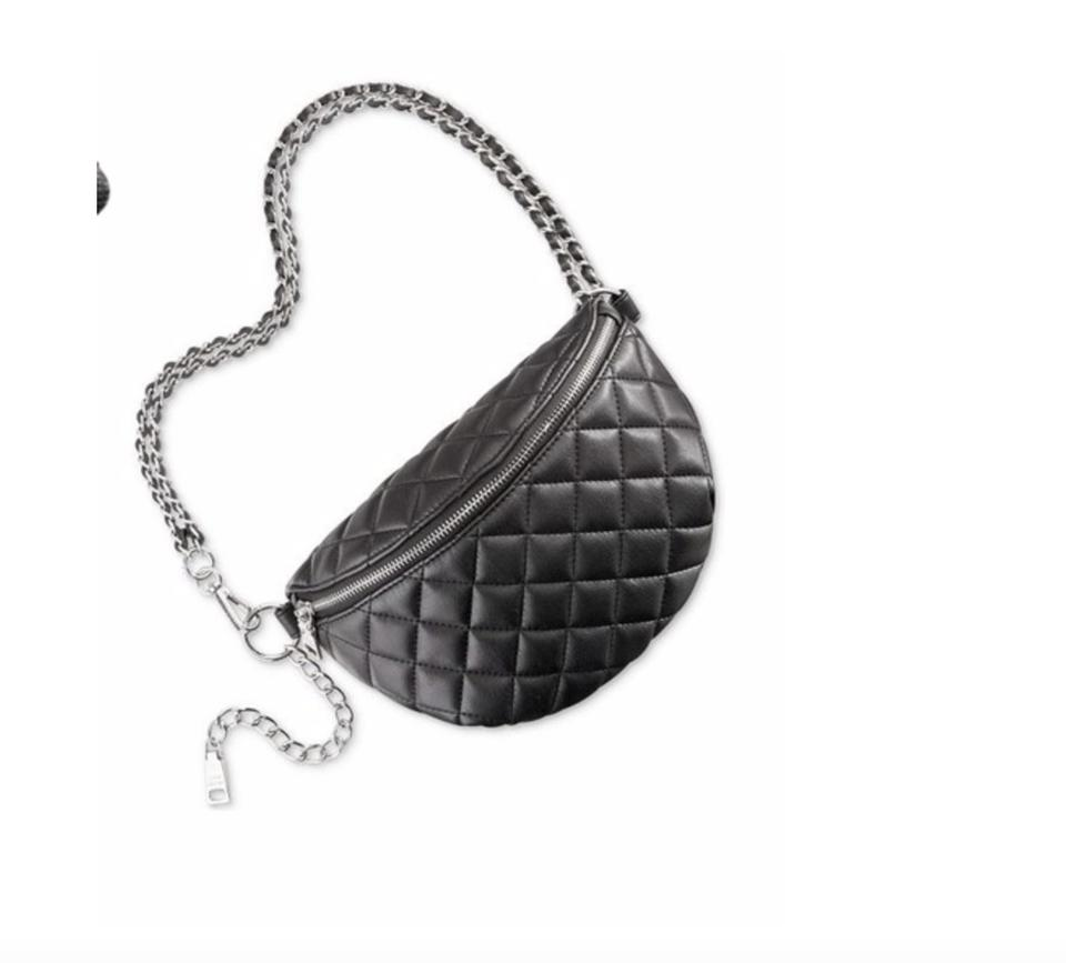 a98831000ea Steve Madden Belt Quilted Bkandiee Convertible Fanny Pack Black Silver Faux  Leather Cross Body Bag