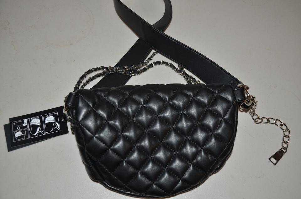 48429feb63a53 Steve Madden Belt Quilted Bkandiee Convertible Fanny Pack Black Silver Faux  Leather Cross Body Bag
