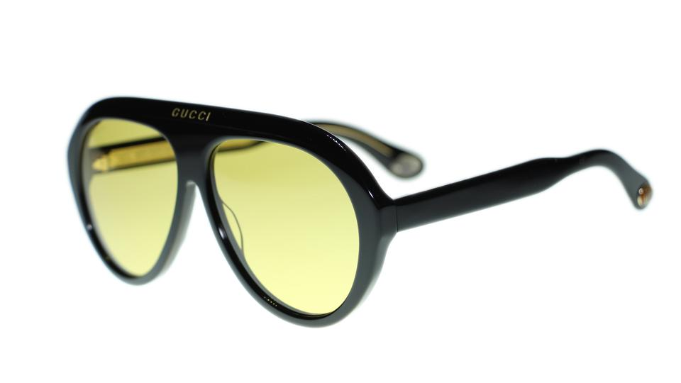 5d4a6439535 Gucci Gucci GG0479S 002 Black Frame Yellow Lens Sunglasses Authentic Image  0 ...