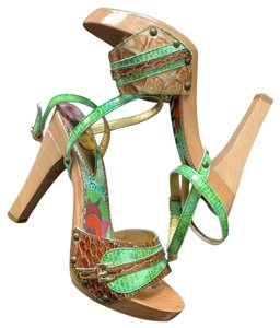 Just Cavalli green, brown, and gold hardware. Mules