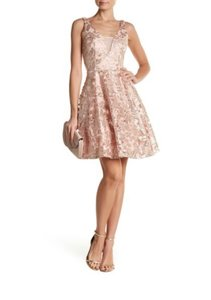 Marina Embroidered Floral Fit And Flare Mesh Dress