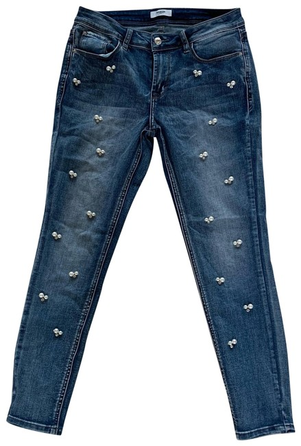 Item - Blue White Silver Light Wash Nwot Pearl and Crystal Skinny Jeans Size 6 (S, 28)
