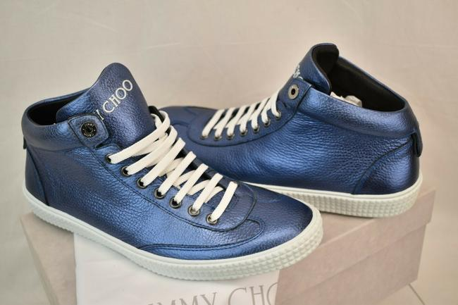 Item - Blue Varley Sea Metallic Grained Leather Lace Up Sneakers 41.5 8 .5 Shoes