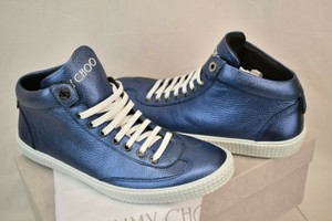 Jimmy Choo Blue Varley Sea Metallic Grained Leather Lace Up Sneakers 46 Spain Shoes