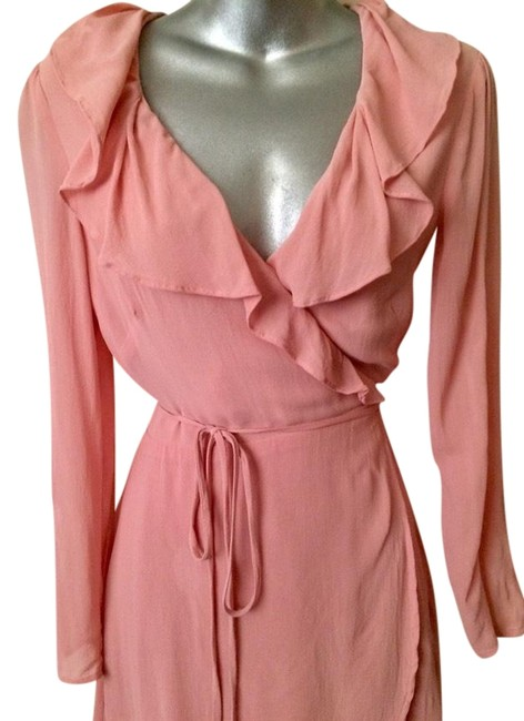 Item - Rose Ultra Feminine Sexy Pink Wrap Mid-length Night Out Dress Size 4 (S)