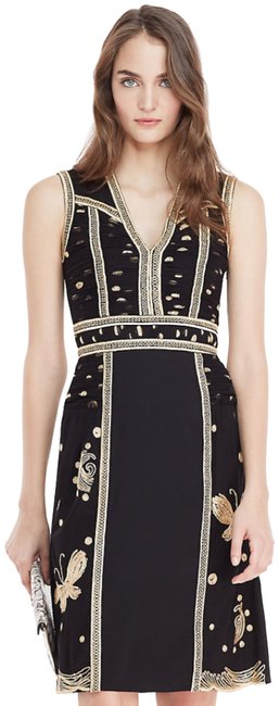 Item - Black and Gold Straight From The Runway Dvf Mid-length Formal Dress Size 2 (XS)