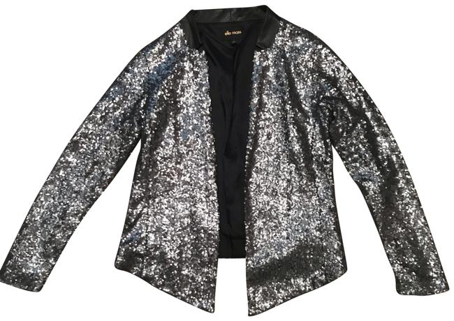 Item - Silver/ Grey Sheena Sequin with Faux Leather Collar Blazer Size 4 (S)