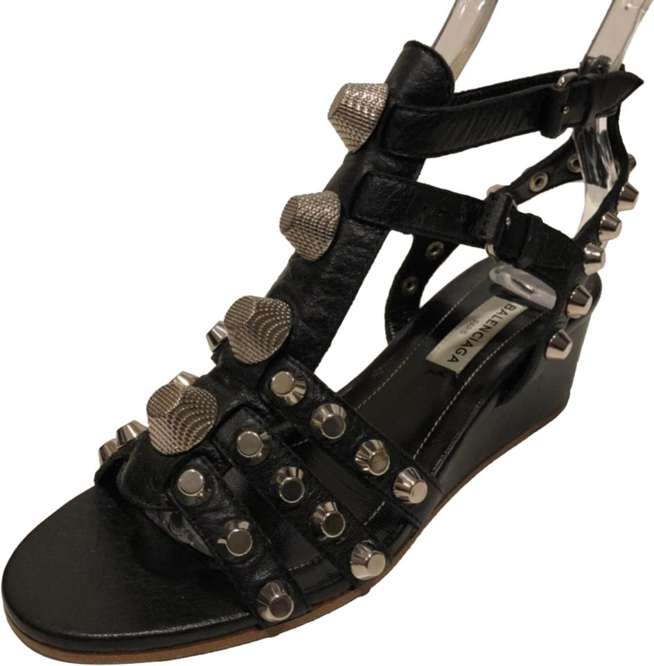 9f0d70328c0 Balenciaga Black New Studded Wedge Leather Sandals. Size  EU 35 (Approx.