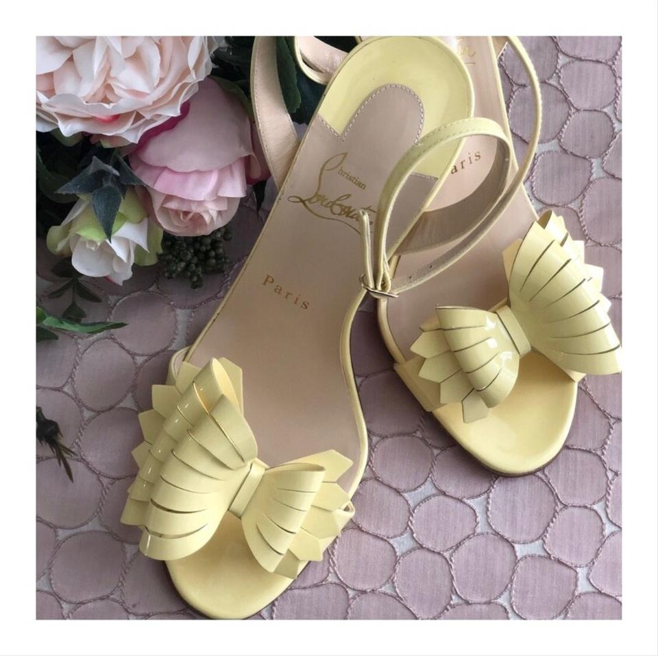 timeless design 43500 90f42 Christian Louboutin Yellow Miss Valois Red Sole Sandals Size EU 38 (Approx.  US 8) Narrow (Aa, N) 11% off retail