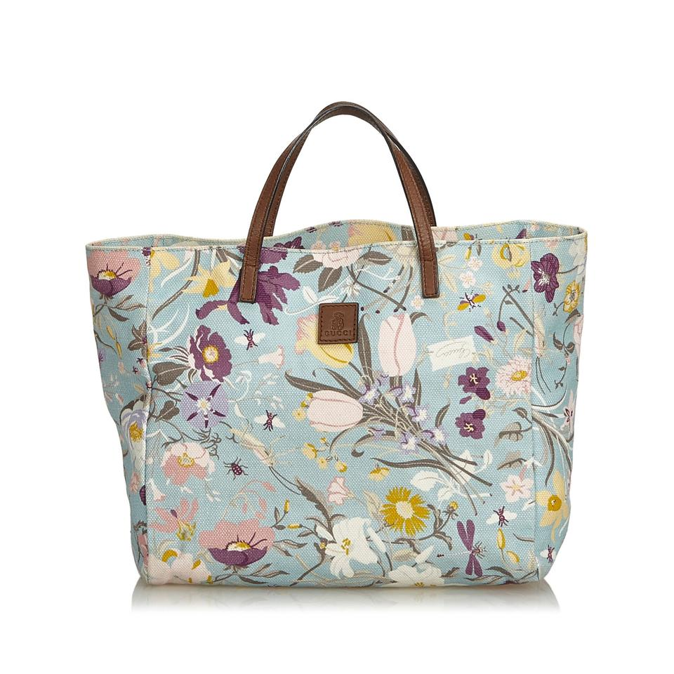 135e641314c Gucci With Multi Fabric Flora Italy W Dust Blue Canvas Leather Tote ...
