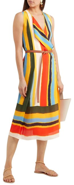 Item - Multicolor Bettina Striped Silk-satin Long Formal Dress Size 12 (L)