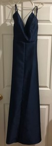 Alfred Sung Midnight Blue Polyester D750 Formal Bridesmaid/Mob Dress Size 4 (S)