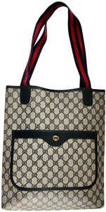 Gucci Gg Vintage Shoulder Navy Tote in Brown
