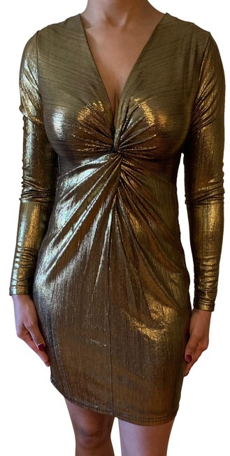 Item - Gold Party Short Night Out Dress Size 4 (S)