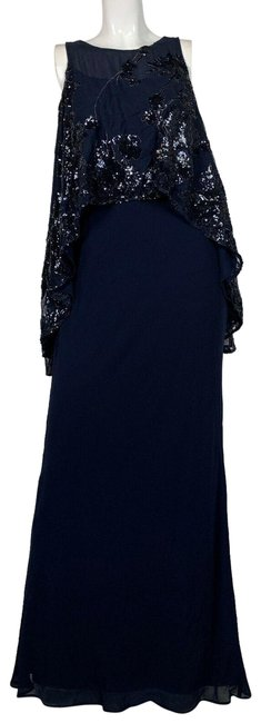 Preload https://img-static.tradesy.com/item/25252953/lauren-ralph-lauren-navy-blue-cold-shoulder-sequined-long-formal-dress-size-2-xs-0-1-650-650.jpg