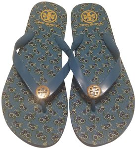 Tory Burch Flip Flop Flower Blue Sandals
