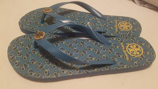 Tory Burch Flip Flop Flower Blue Sandals Image 1