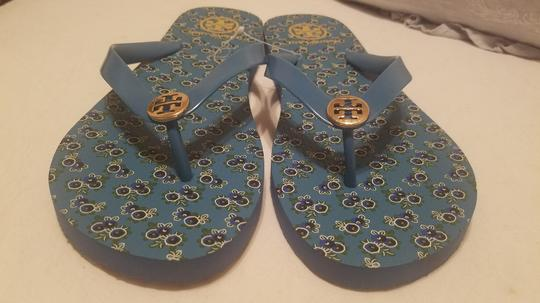 Tory Burch Flip Flop Flower Blue Sandals Image 2