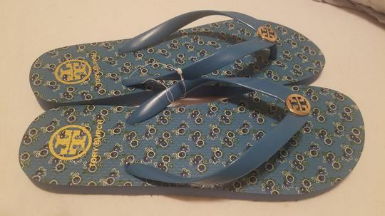 Tory Burch Flip Flop Flower Blue Sandals Image 3