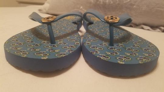 Tory Burch Flip Flop Flower Blue Sandals Image 6