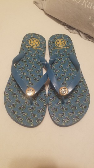Tory Burch Flip Flop Flower Blue Sandals Image 7