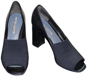 Via Spiga Leather Peep Toe High Heel Black Pumps