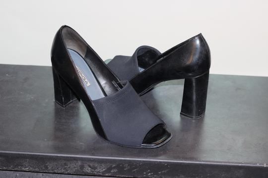 Via Spiga Leather Peep Toe High Heel Black Pumps Image 2