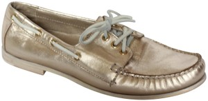 Cole Haan Metallic Leather Oxford Boat Gold Flats