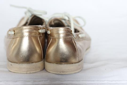 Cole Haan Metallic Leather Oxford Boat Gold Flats Image 1