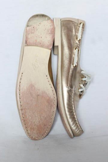 Cole Haan Metallic Leather Oxford Boat Gold Flats Image 2