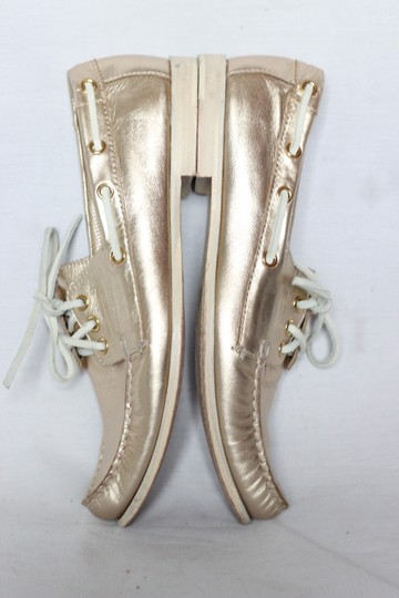 Cole Haan Metallic Leather Oxford Boat Gold Flats Image 3