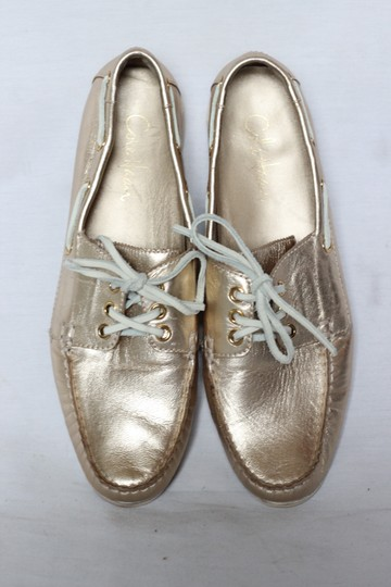 Cole Haan Metallic Leather Oxford Boat Gold Flats Image 4
