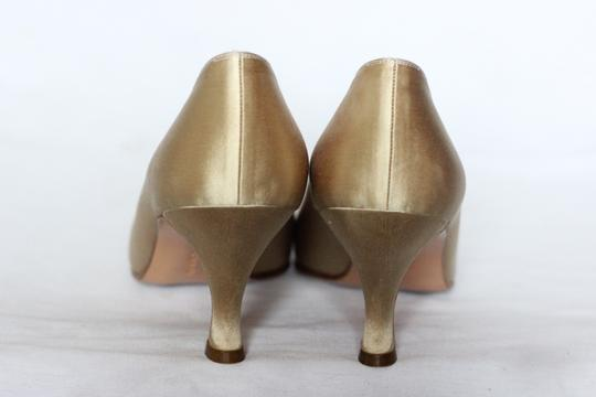 Salvatore Ferragamo Silk Italian Evening Cocktail Gold Pumps Image 2