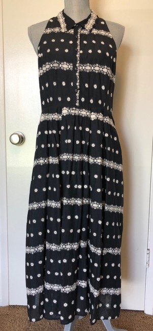 Black Maxi Dress by Anthropologie Embroidered Halter Image 2