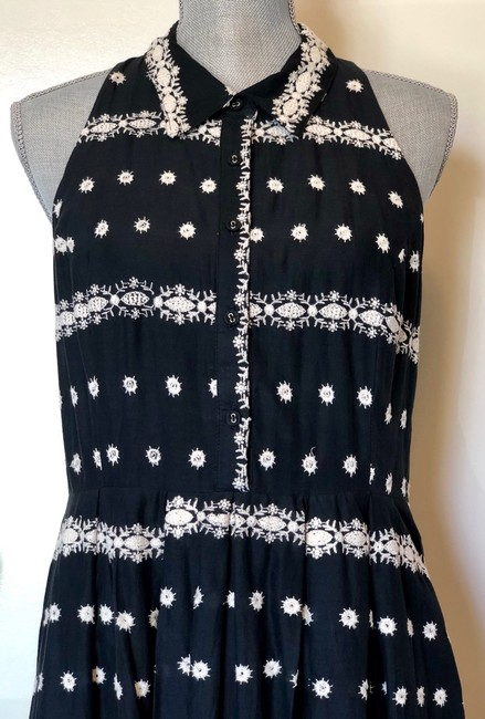 Black Maxi Dress by Anthropologie Embroidered Halter Image 3