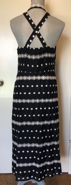 Black Maxi Dress by Anthropologie Embroidered Halter Image 5