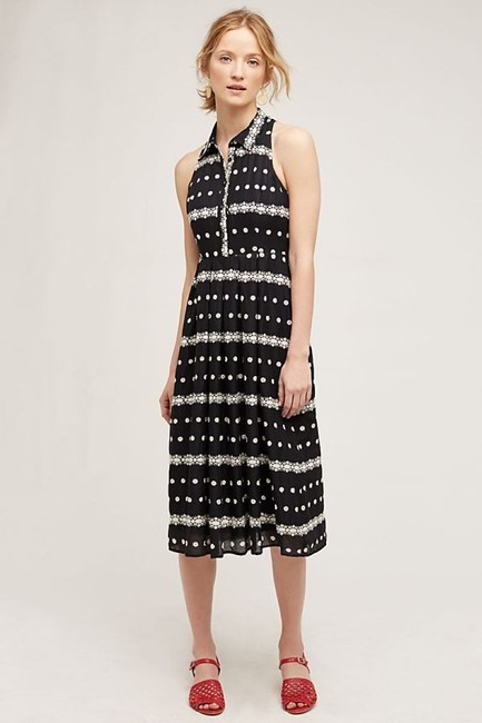 Black Maxi Dress by Anthropologie Embroidered Halter Image 9