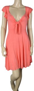 BCBGeneration Ruffle Knot Tie Coral Dress