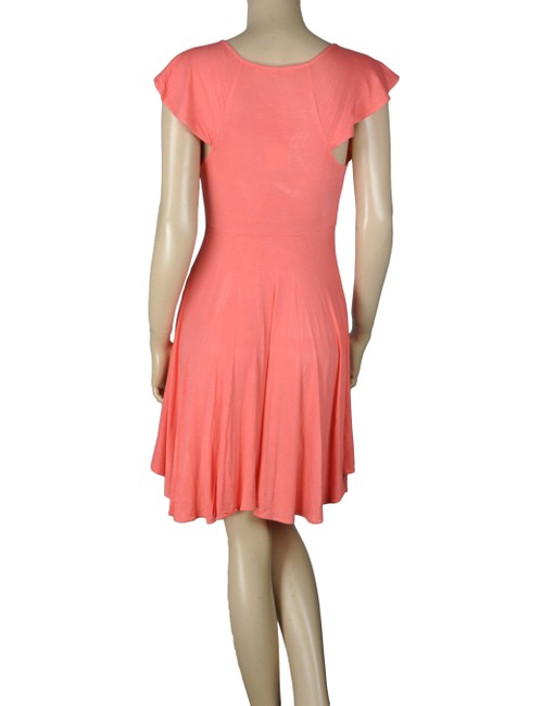 BCBGeneration Ruffle Knot Tie Coral Dress Image 1