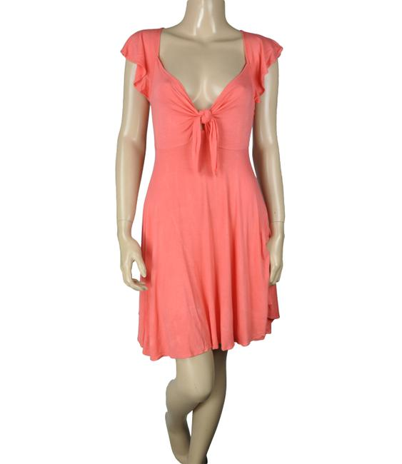 BCBGeneration Ruffle Knot Tie Coral Dress Image 2