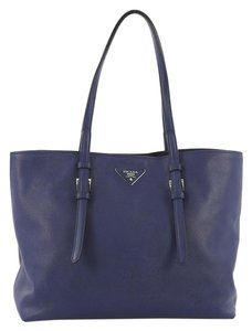 Prada Saffiano Leather Belted Tote in blue