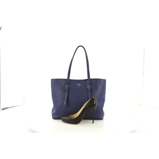 Prada Saffiano Leather Belted Tote in blue Image 1