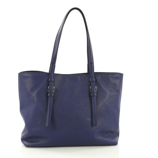 Prada Saffiano Leather Belted Tote in blue Image 3