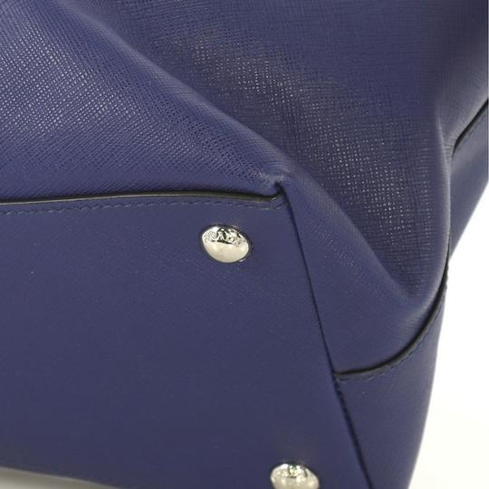 Prada Saffiano Leather Belted Tote in blue Image 6