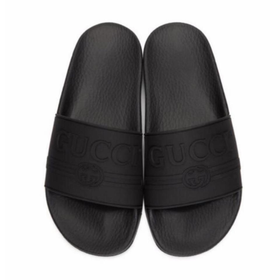 0db6a7c08 Gucci Logo Embossed Rubber Slides Sandals Size EU 38 (Approx. US 8 ...
