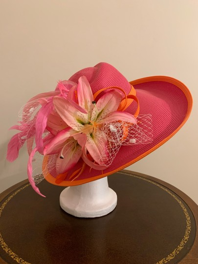 Dee's Pink hat with Orange trim and accents Image 1