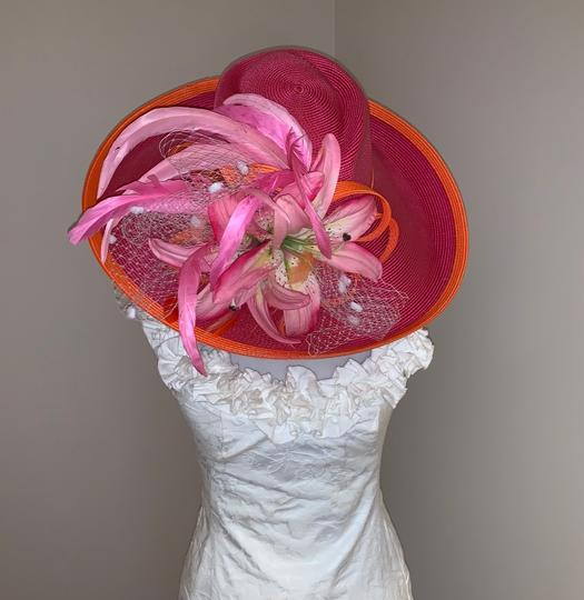 Dee's Pink hat with Orange trim and accents Image 2